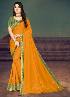 Yellow Lace Festival Trendy Saree