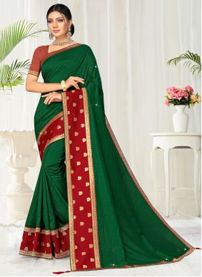 Lace Green Traditional Saree
