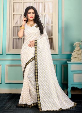 Lace Jacquard Bollywood Saree in White