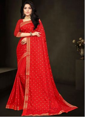 Lace Work Silk Red Traditional Saree
