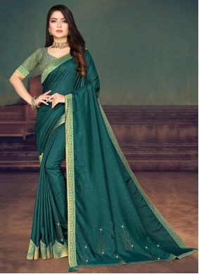 Teal Lace Silk Designer Saree