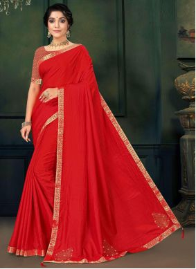 Red Lace Work Traditional Saree For Festival