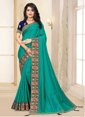 Lace Turquoise Silk Contemporary Saree