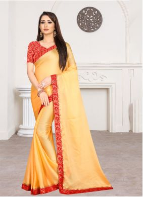 Lace Yellow Traditional Saree