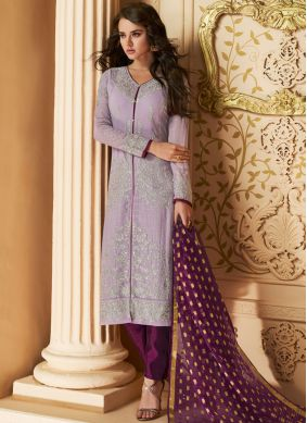Latest Faux Georgette Lavender Pant Style Suit