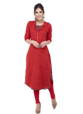 Latest Rayon Red Printed Designer Kurti