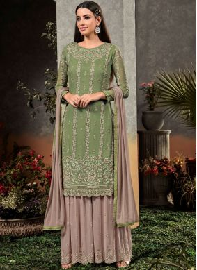 Latest Sea Green Embroidered Palazzo Designer Suit