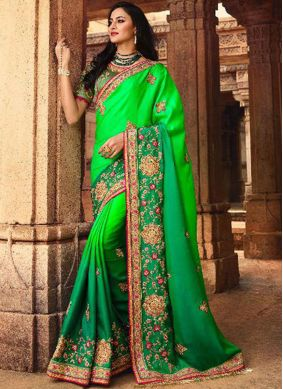 Latest Silk Green Stone Work Traditional Saree