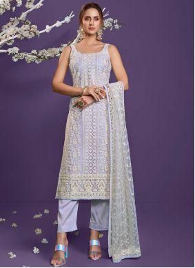 Lavender Embroidered Designer Straight Suit