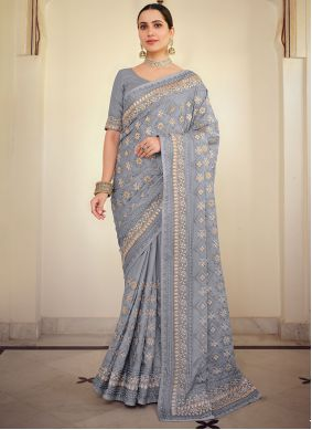 Lavender Embroidered Traditional Saree