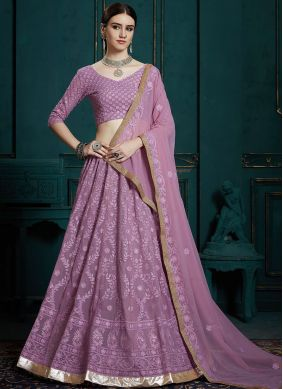 Lavender Faux Georgette Reception Trendy Lehenga Choli
