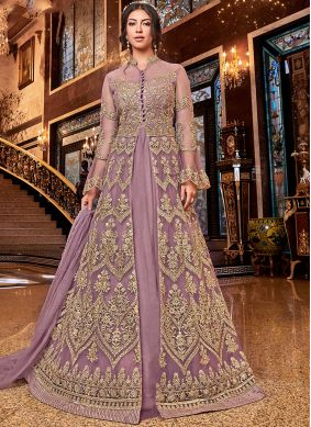 Lavish Embroidered Beige Anarkali Salwar Kameez