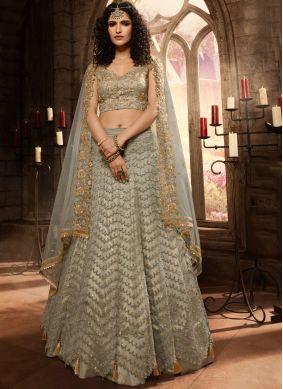 Lavish Embroidered Net Grey Anarkali Salwar Kameez