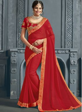 Lavish Patch Border Faux Chiffon Red Classic Saree