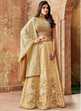 Lehenga Choli Embroidered Art Silk in Beige