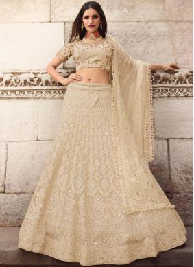 Lehenga Choli Embroidered Art Silk in Cream