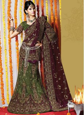 Lehenga Choli Embroidered Net in Green