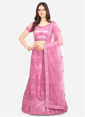 Lehenga Choli Embroidered Net in Hot Pink