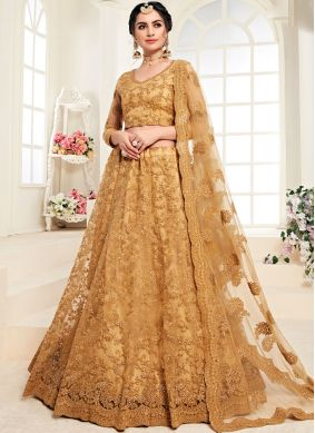 Lehenga Choli Embroidered Net in Mustard