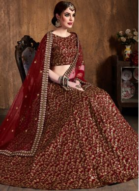 Lehenga Choli Embroidered Raw Silk in Maroon