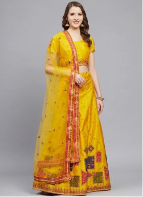 Lehenga Choli Embroidered Silk in Mustard