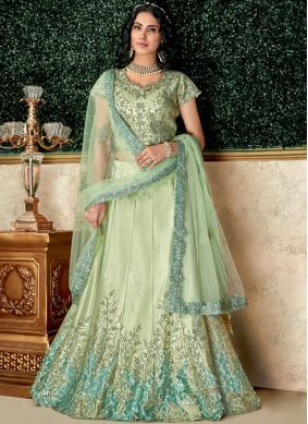 Lehenga Choli Embroidered Tafeta Silk in Sea Green