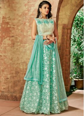 Lehenga Choli Embroidered Tissue in Sea Green