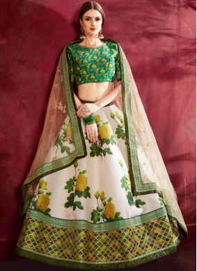 Lehenga Choli Floral Print Banglori Silk in Cream