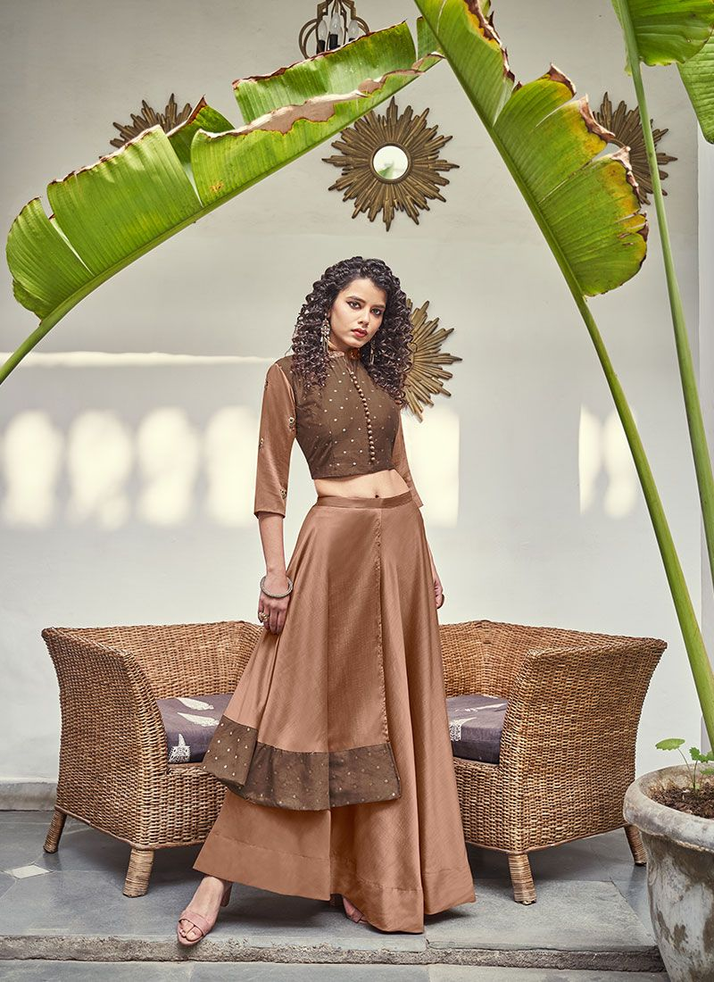 Lehenga Choli Handwork Jacquard Silk in Brown