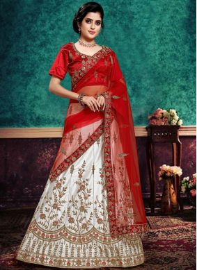 Lehenga Choli Lace Satin Silk in Red and White