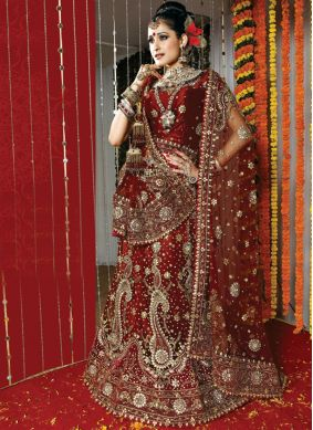 Lehenga Choli Patch Border Net in Maroon