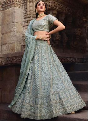 Lehenga Choli Resham Art Silk in Grey