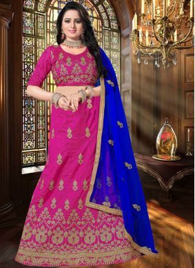 Lehenga Choli Resham Art Silk in Hot Pink