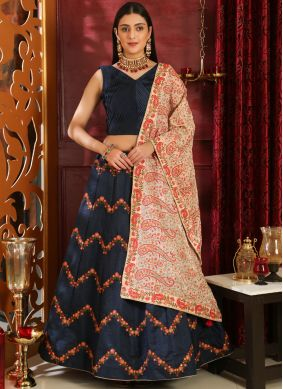 Lehenga Choli Resham Art Silk in Navy Blue