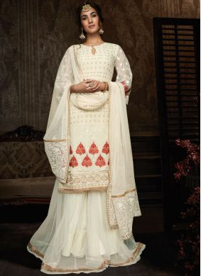 Lehenga Choli Resham Georgette in Off White