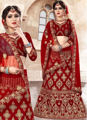 Lehenga Choli Resham Velvet in Red