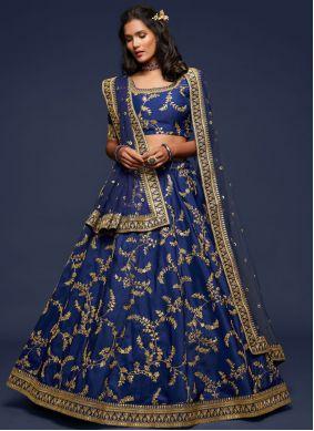 Lehenga Choli Sequins Art Silk in Blue