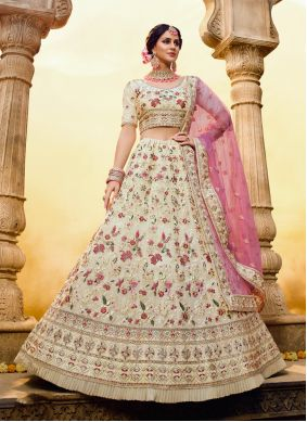 Lehenga Choli Sequins Georgette in Off White