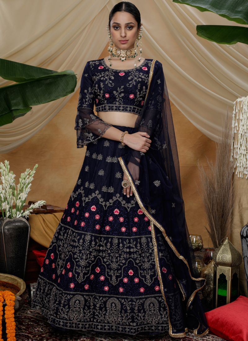 Lehenga Choli Thread Net in Navy Blue