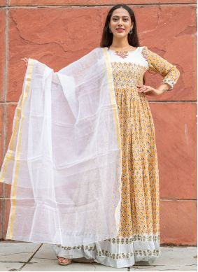 Linen Block Print Readymade Suit in Yellow