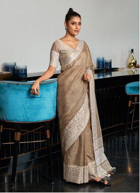 Linen Brown Traditional Saree