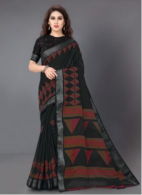 Linen Casual Black Color Saree