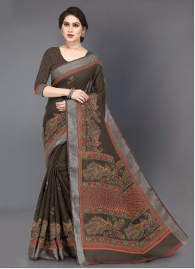 Linen Casual Saree in Brown