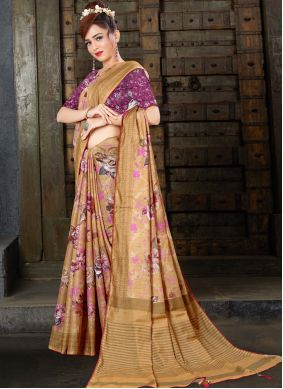 Linen Digital Print Brown Traditional Saree