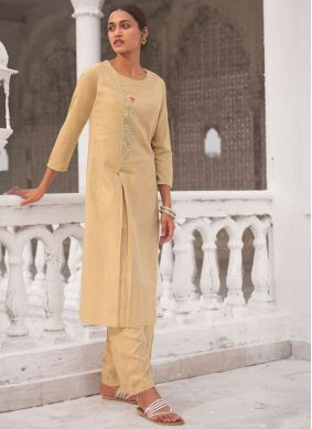 Linen Embroidered Casual Kurti