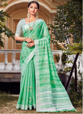 Linen Embroidered Green Traditional Saree