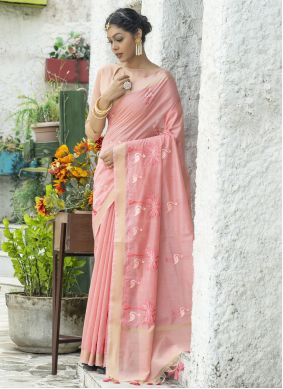 Linen Embroidered Pink Classic Saree