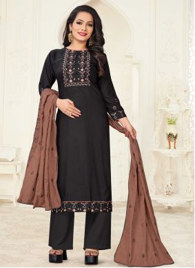 Black Linen Embroidered Readymade Suit