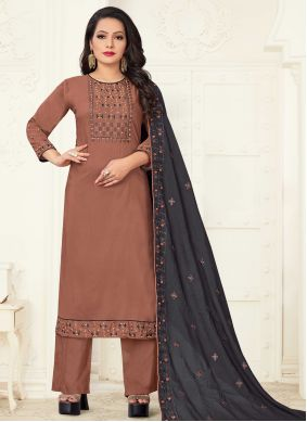 Linen Festival Brown Readymade Suit