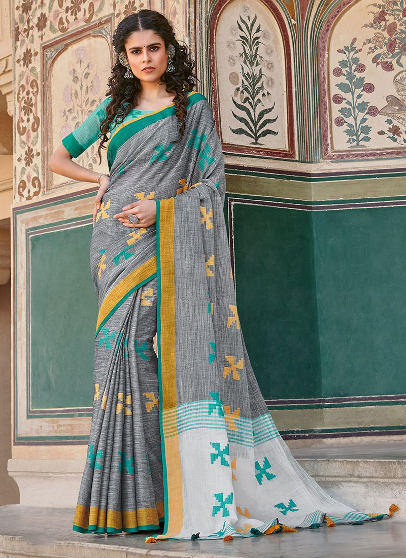 Linen Grey Thread Work Trendy Saree